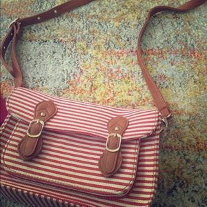 Cute red and white striped purse